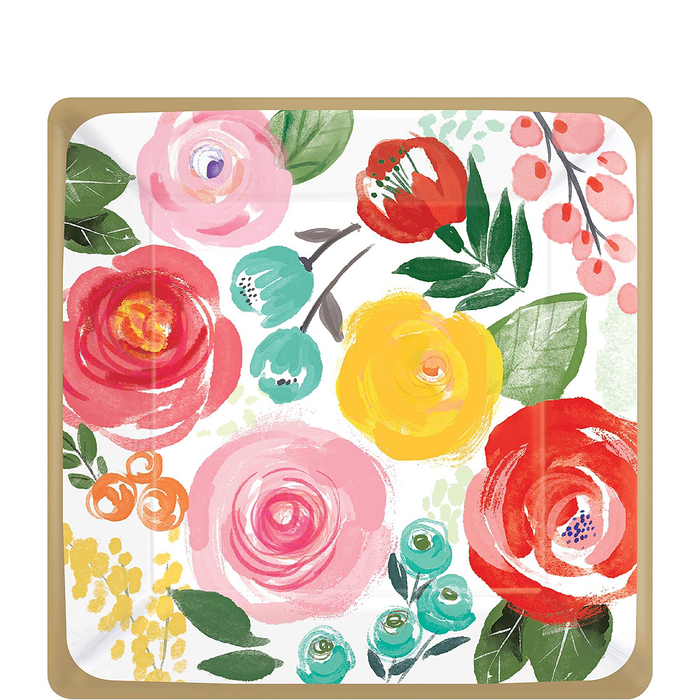 Super Bright Floral Tableware Kit for 16 Guests Image #2