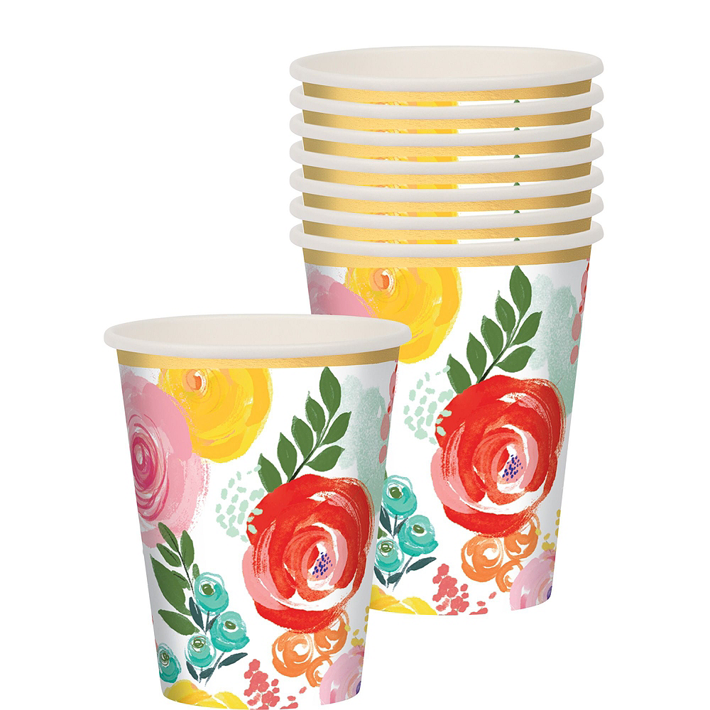 Super Bright Floral Tableware Kit for 16 Guests Image #6