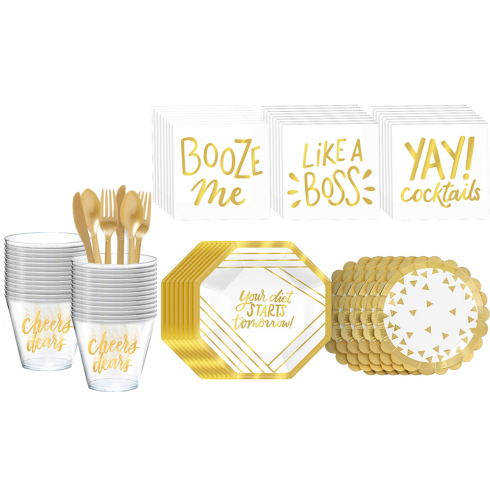Metallic Gold Cocktail Party Kit for 16 Guests Image #1
