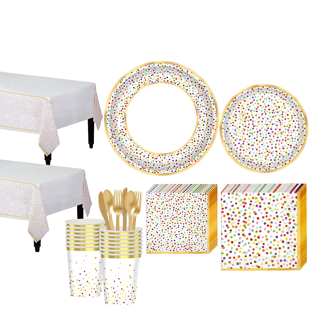 Rainbow Confetti Tableware Kit for 16 Guests Image #1
