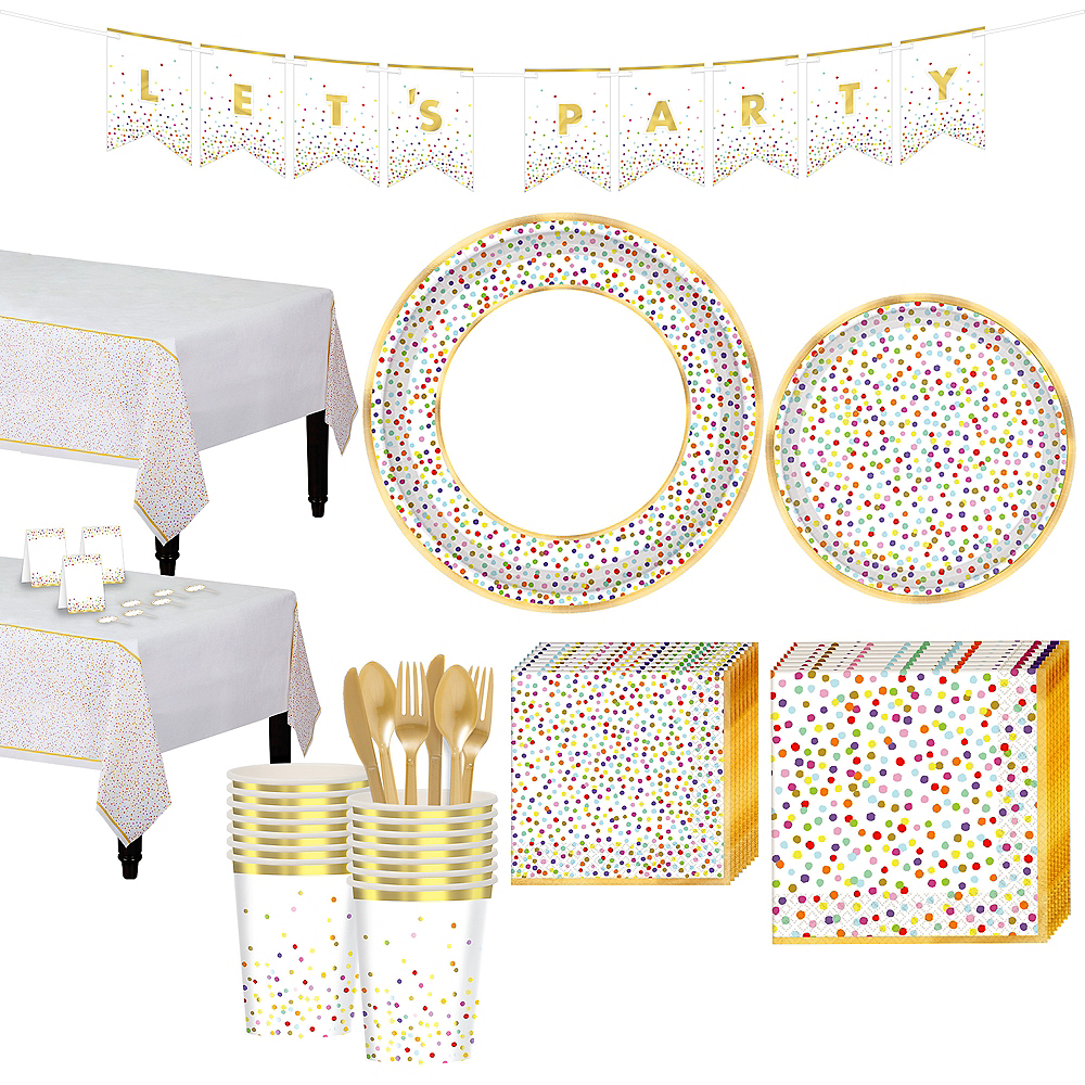 Super Rainbow Confetti Tableware Kit for 16 Guests Image #1