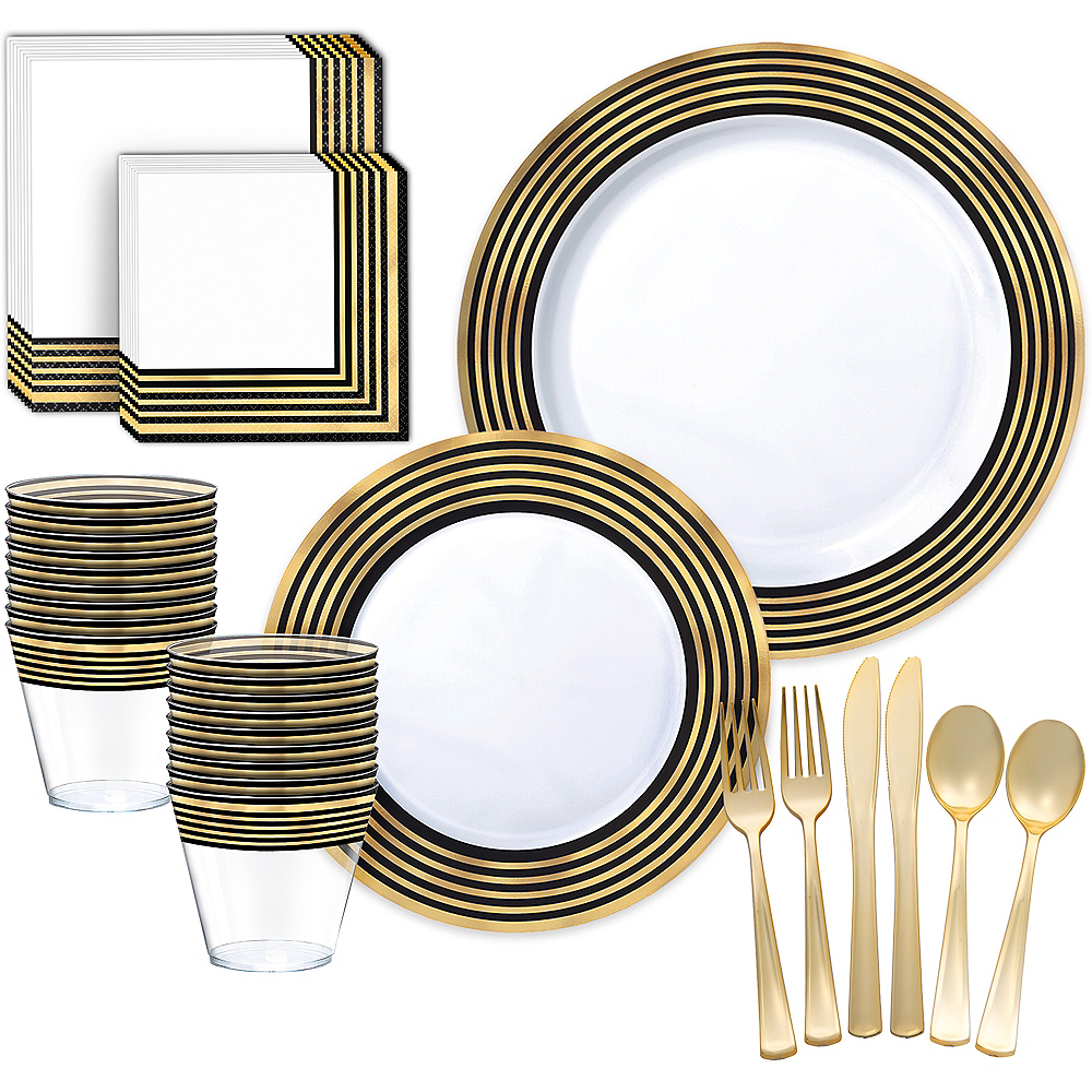 Black & Metallic Gold Stripe Premium Tableware Kit for 20 Guests Image #1