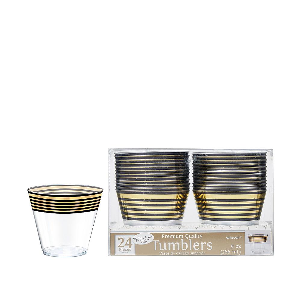 Black & Metallic Gold Stripe Premium Tableware Kit for 20 Guests Image #6