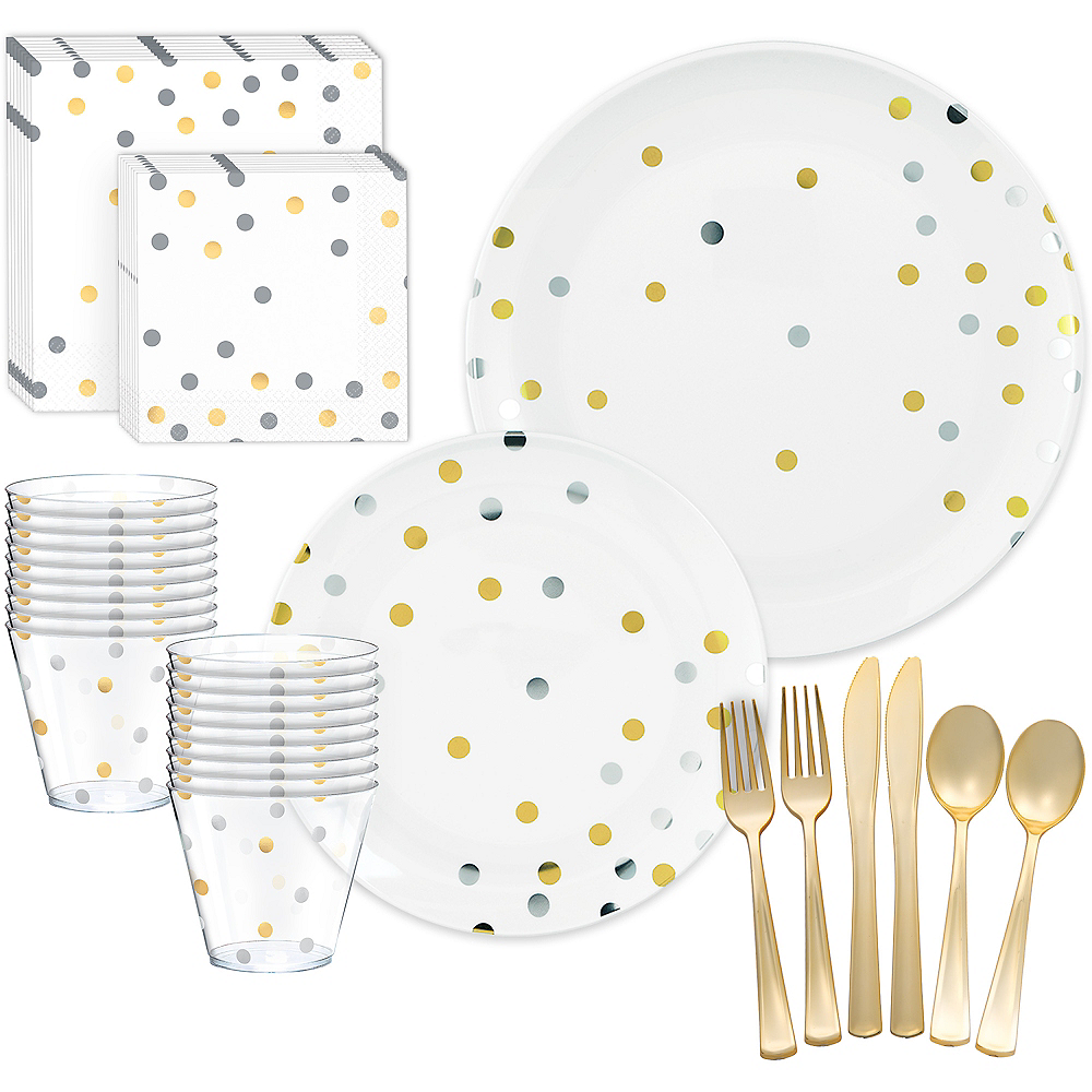 Metallic Gold & Silver Confetti Premium Tableware Kit for 20 Guests Image #1