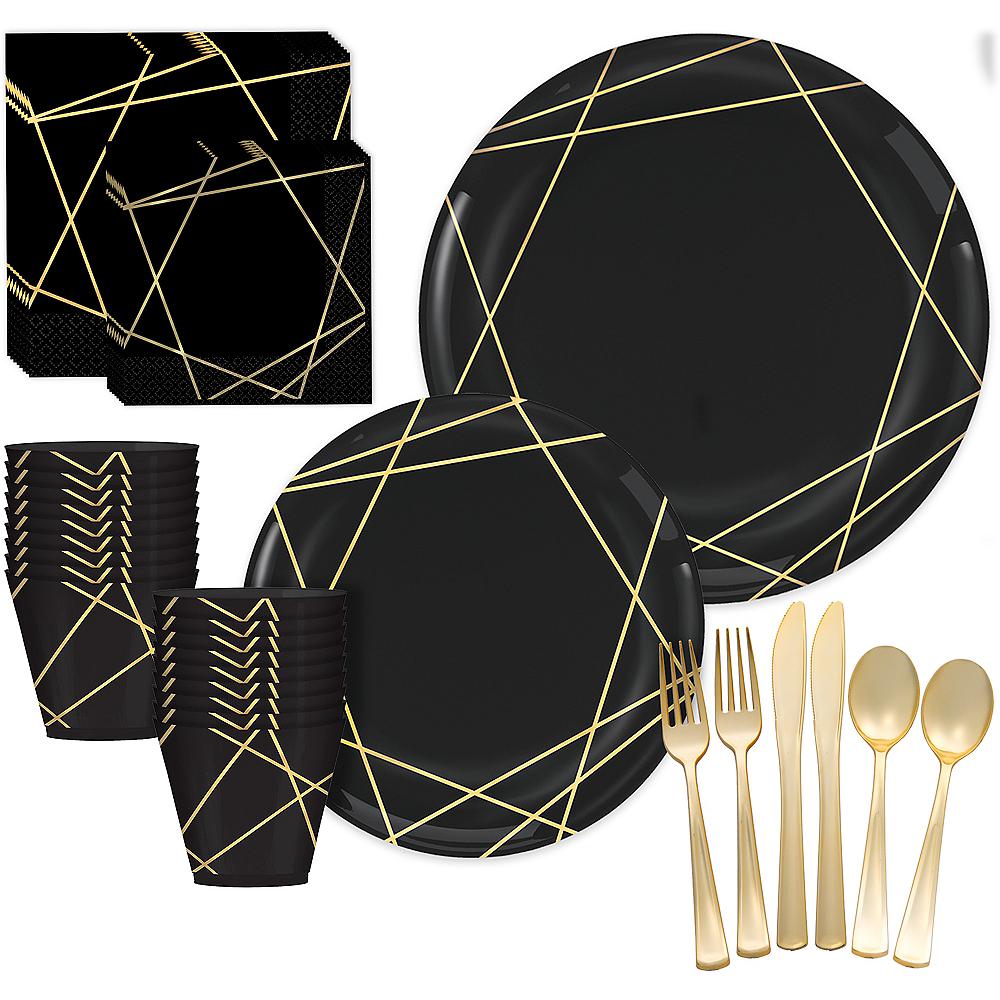 Black & Metallic Gold Line Premium Tableware Kit for 20 Guests Image #1
