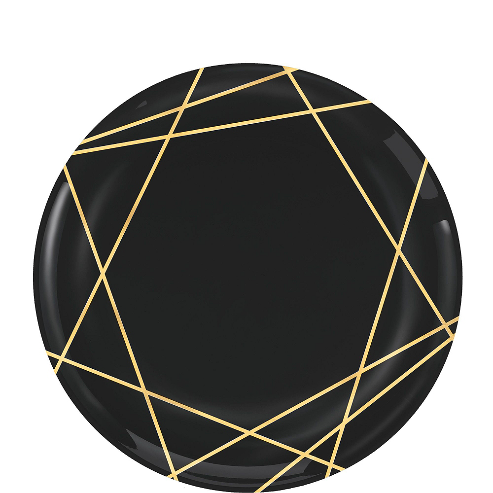 Black & Metallic Gold Line Premium Tableware Kit for 20 Guests Image #2