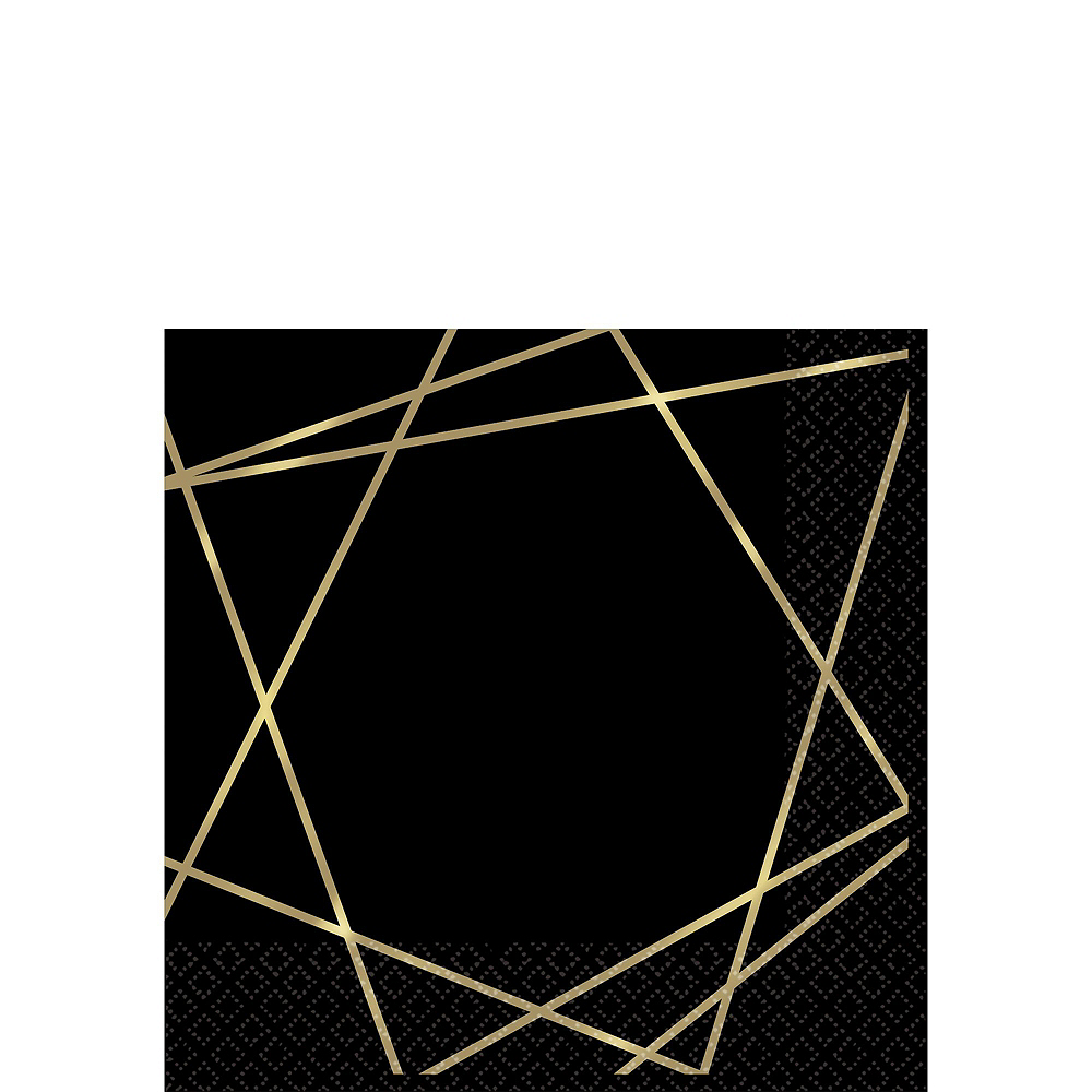 Black & Metallic Gold Line Premium Tableware Kit for 20 Guests Image #4