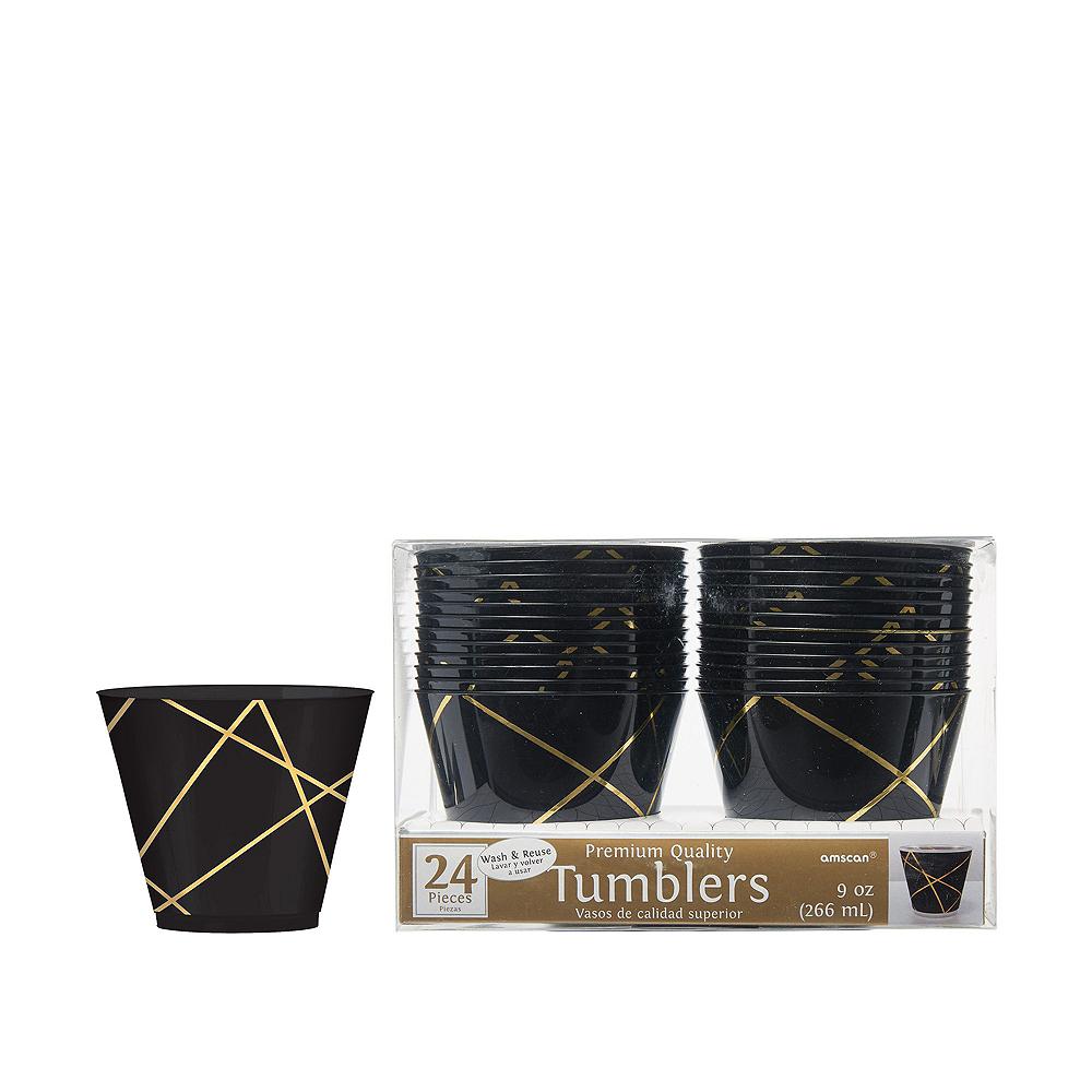 Black & Metallic Gold Line Premium Tableware Kit for 20 Guests Image #6