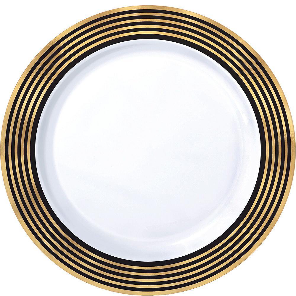Black & Metallic Gold Stripe Premium Tableware Kit for 20 Guests Image #3