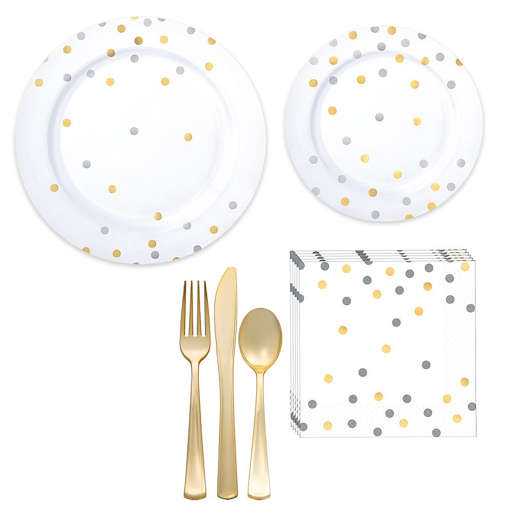 Metallic Gold & Silver Confetti Premium Tableware Kit for 20 Guests Image #1