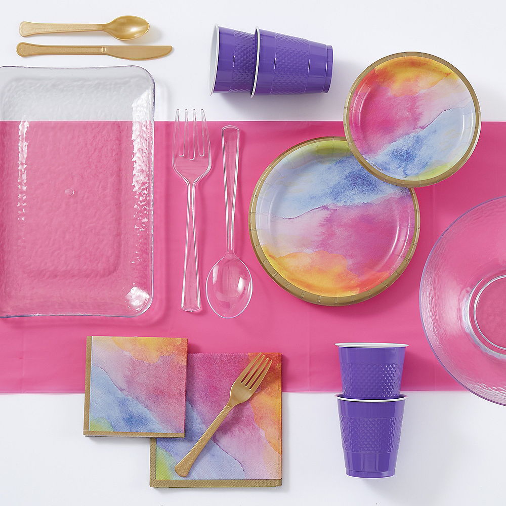 Super Watercolor Rainbow Tableware Kit for 16 Guests Image #1
