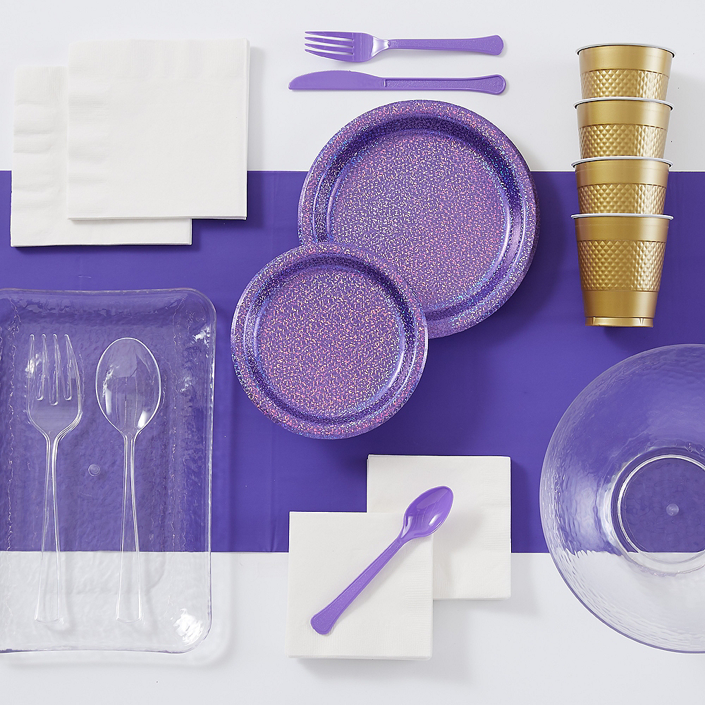 Super Prismatic Purple Tableware Kit for 16 Guests Image #1