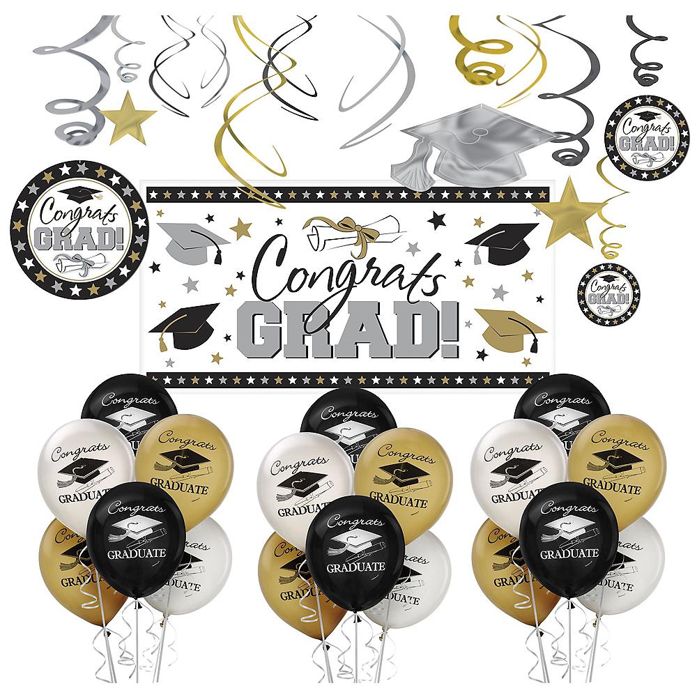 Black, Gold & Silver Graduation Decorating Kit Image #1