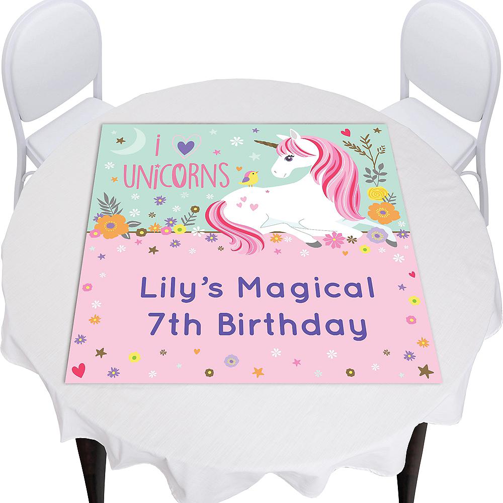 Custom Magical Unicorn Square Vinyl Table Topper Image #1