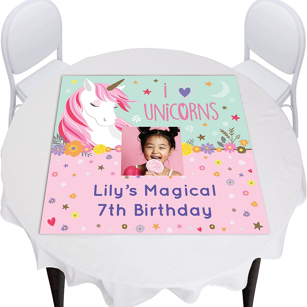Custom Magical Unicorn Square Vinyl Photo Table Topper Image #1