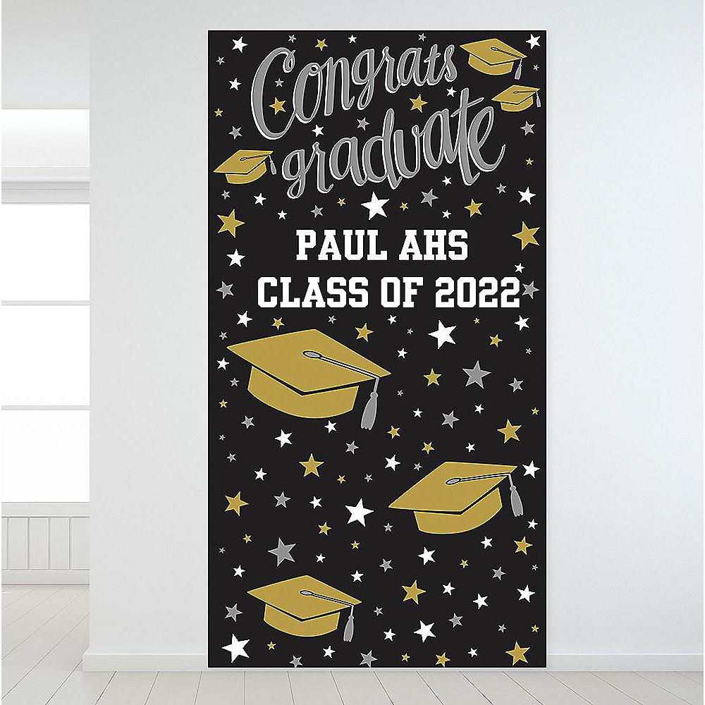 Custom Black, Gold & Silver Graduation Backdrop Image #1