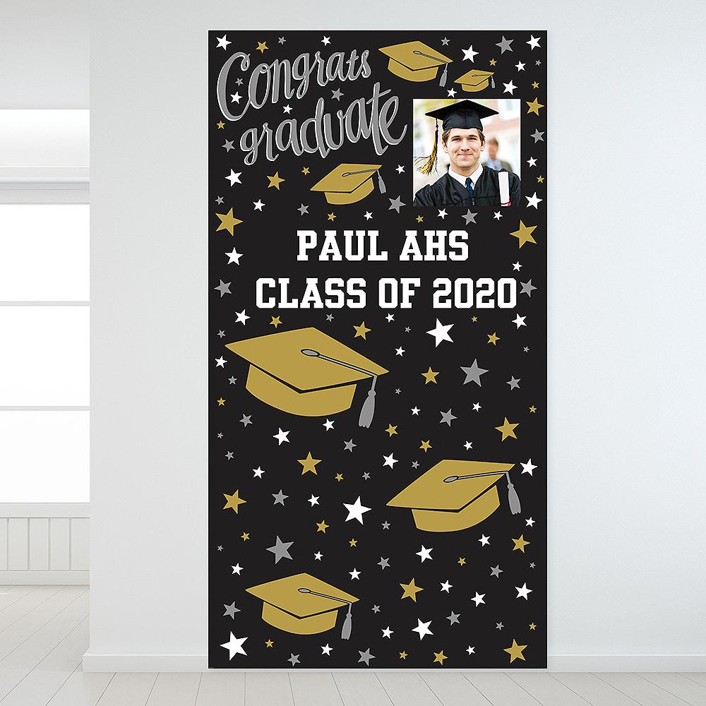 Custom Black, Gold & Silver Graduation Photo Backdrop  Image #1