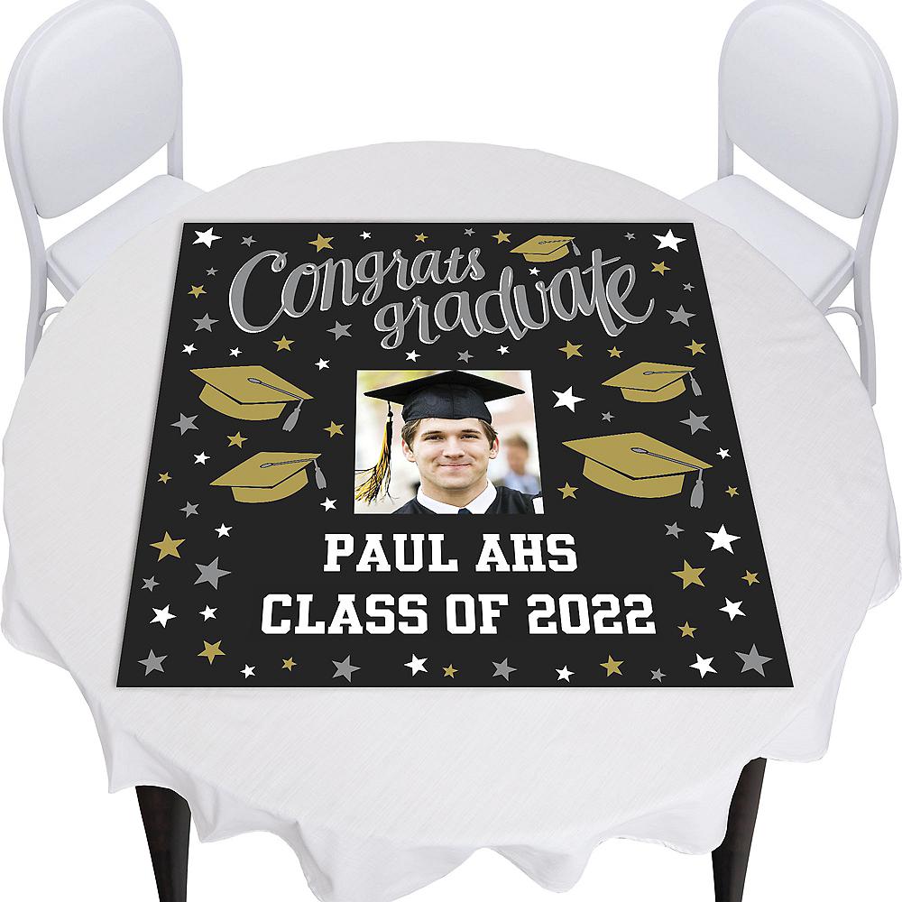 Custom Black, Gold & Silver Graduation Square Vinyl Photo Table Topper  Image #1