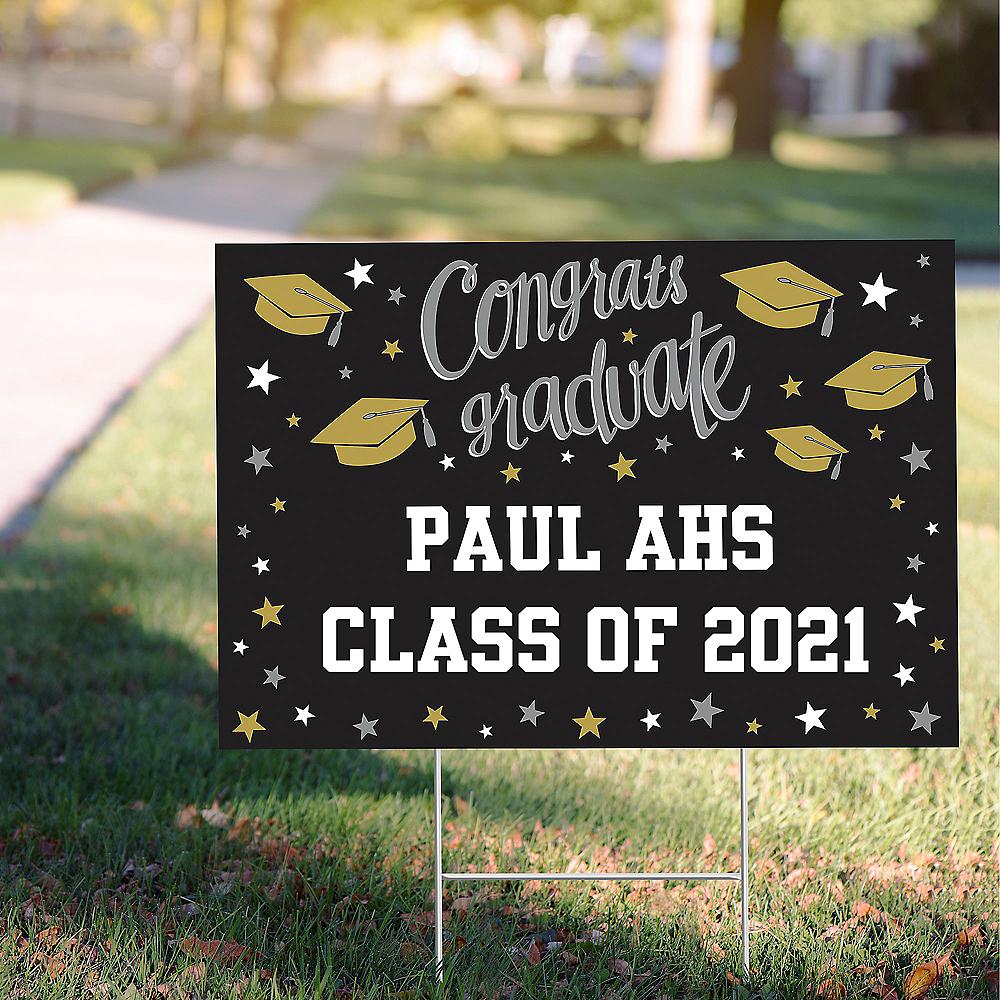 Custom Black, Gold & Silver Graduation Yard Sign Image #1