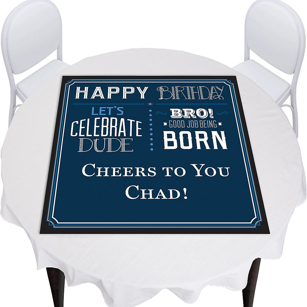 Custom Vintage Happy Birthday Square Vinyl Table Topper Image #1