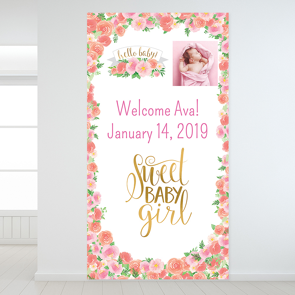 Custom Floral Baby Photo Backdrop Image #1