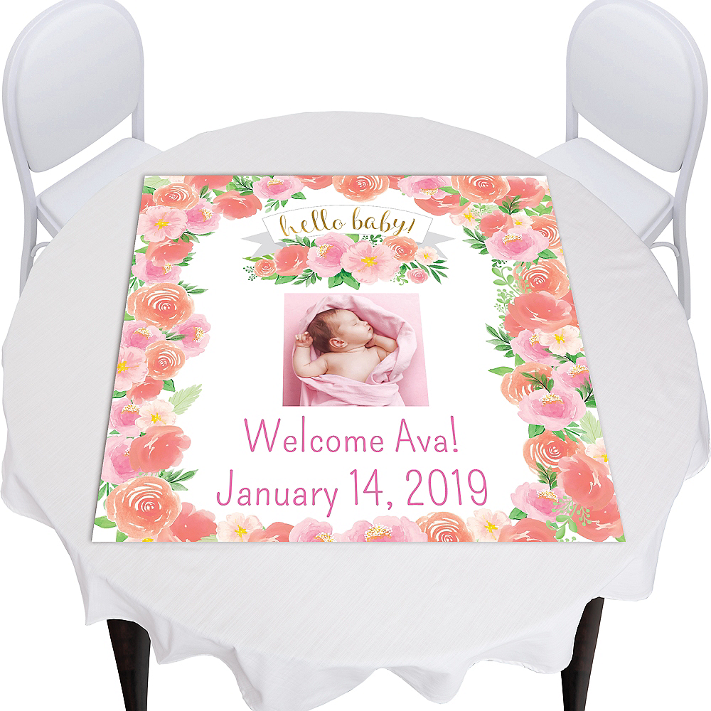 Custom Floral Baby Square Vinyl Photo Table Topper Image #1