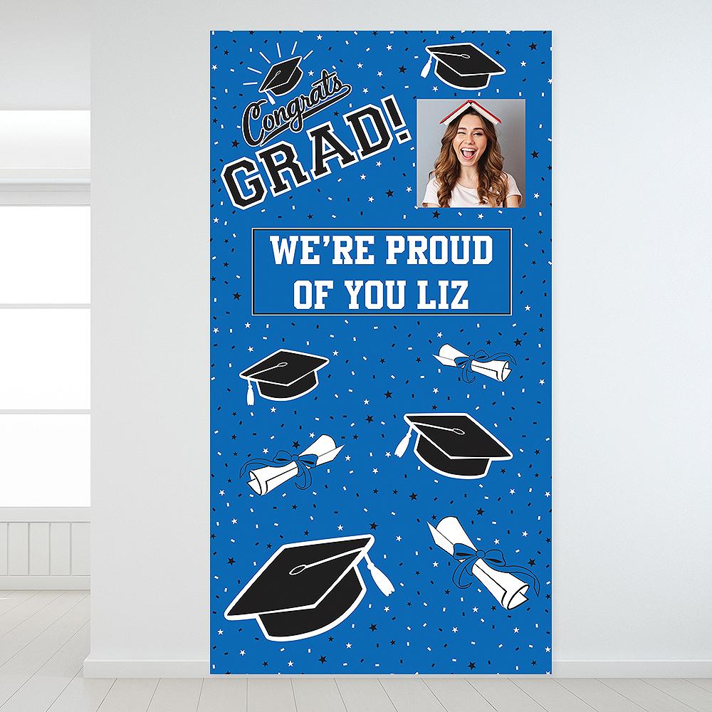 Custom Blue Graduation Photo Backdrop Image #1