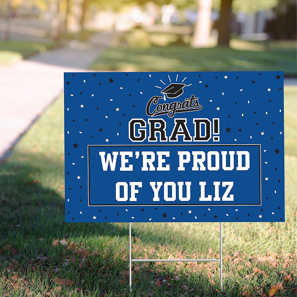 Custom Blue Graduation Yard Sign Image #1