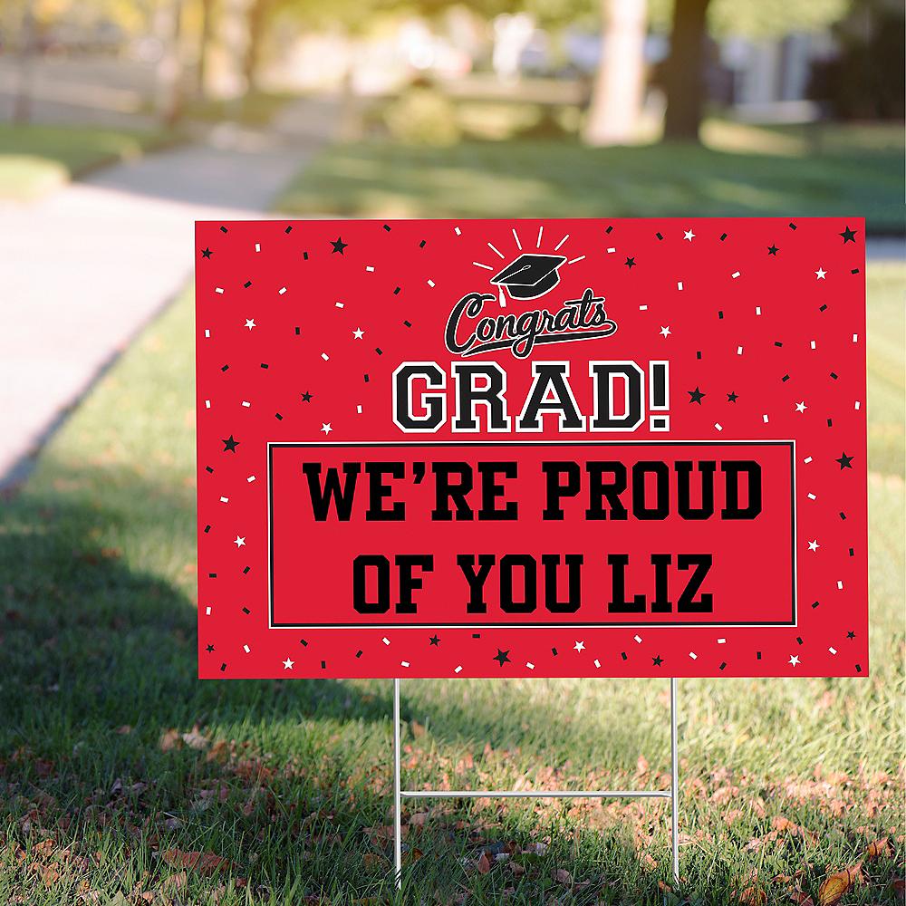 Custom Red Graduation Yard Sign Image #1