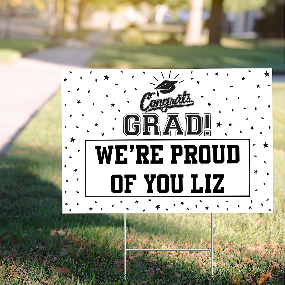 Custom White Graduation Yard Sign Image #1