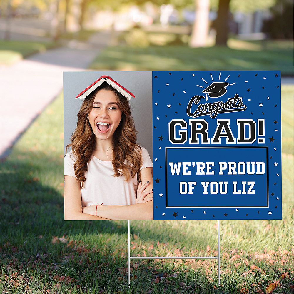 Custom Blue Graduation Photo Yard Sign Image #1