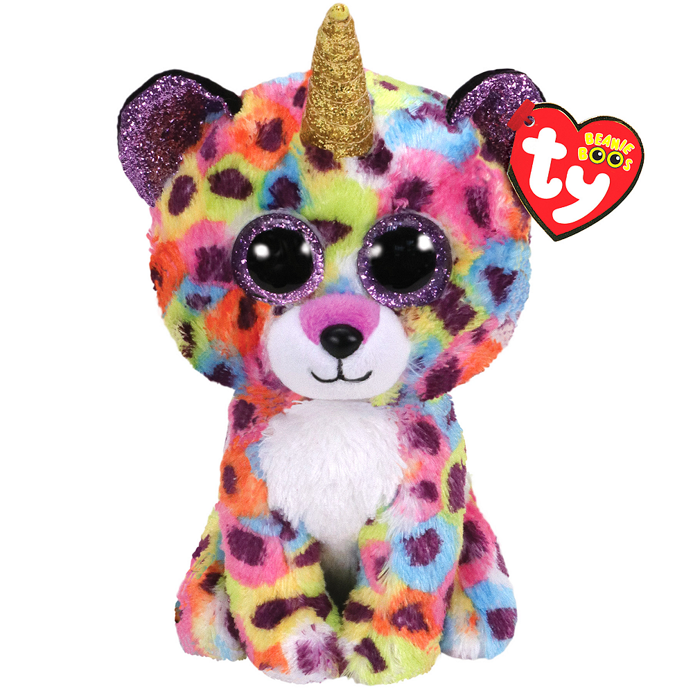 Stuffed Squirrel Animals, Giselle Beanie Boo Unicorn Leopard Plush 6in X 7in Party City