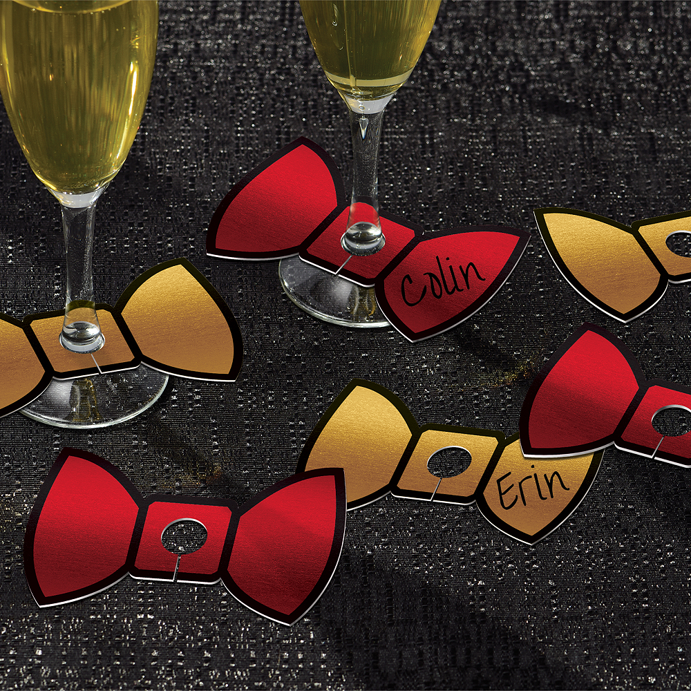 Gold & Red Bow Tie Glass Tags 18ct Image #1