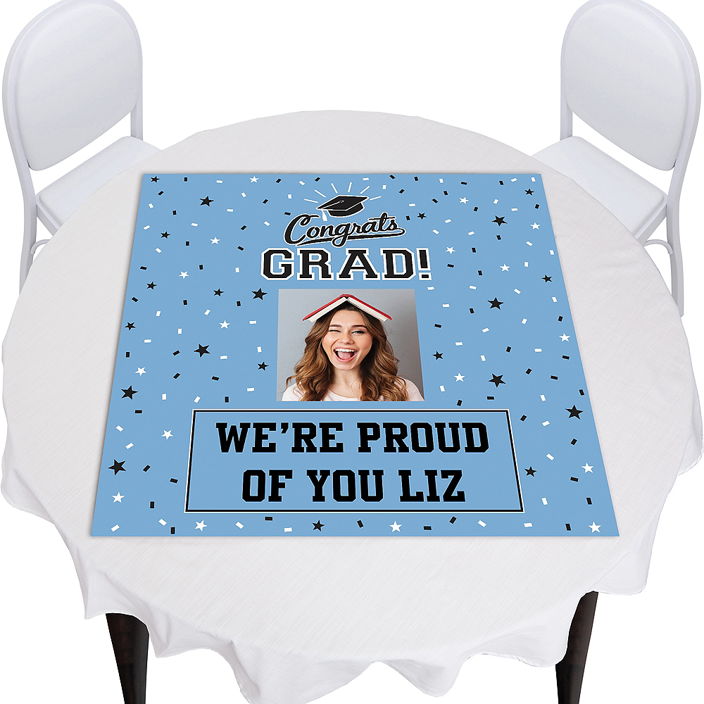 Custom Powder Blue Graduation Square Vinyl Photo Table Topper Image #1