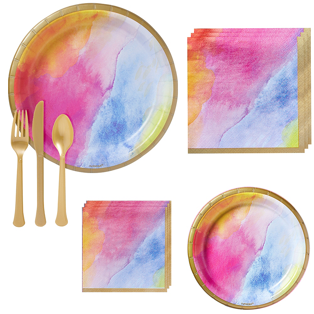 Watercolor Rainbow Tableware Kit for 16 Guests Image #1