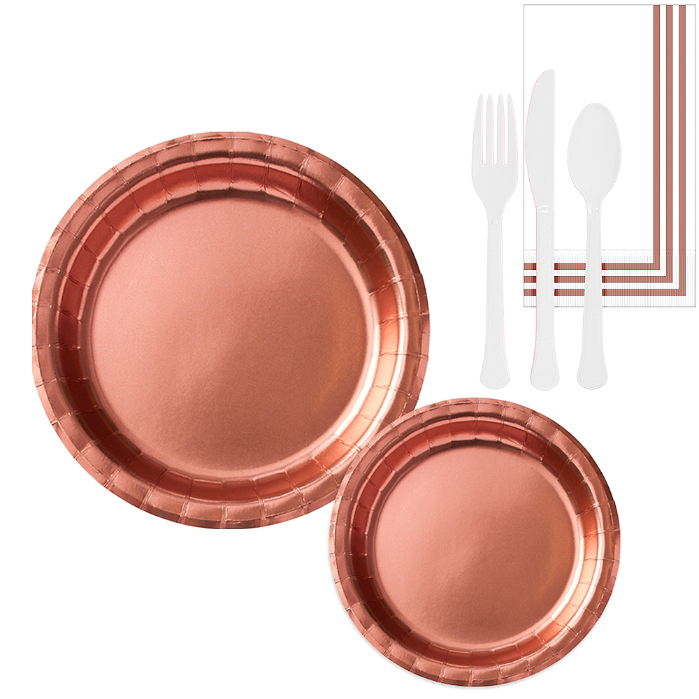 Metallic Rose Gold Tableware Kit for 16 Guests Image #1