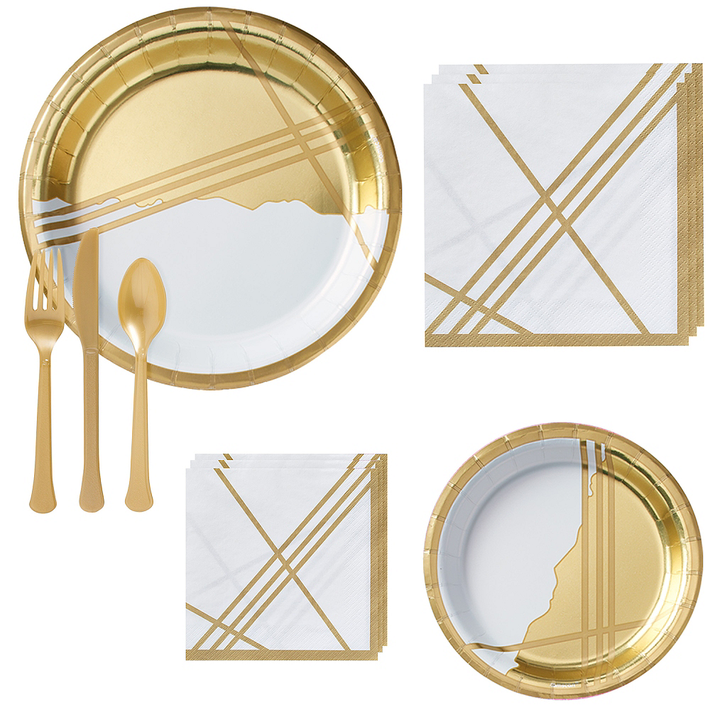 Gold Facet Tableware Kit for 16 Guests Image #1