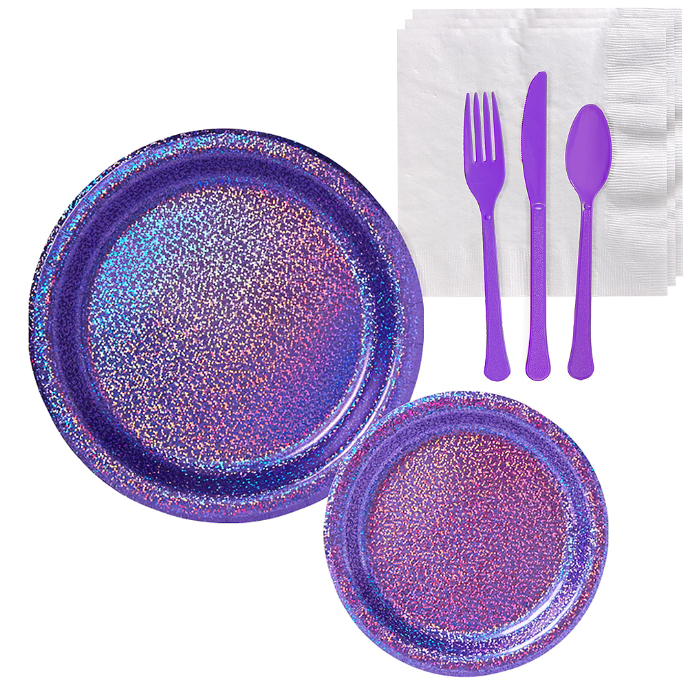 Prismatic Purple Tableware Kit for 16 Guests Image #1