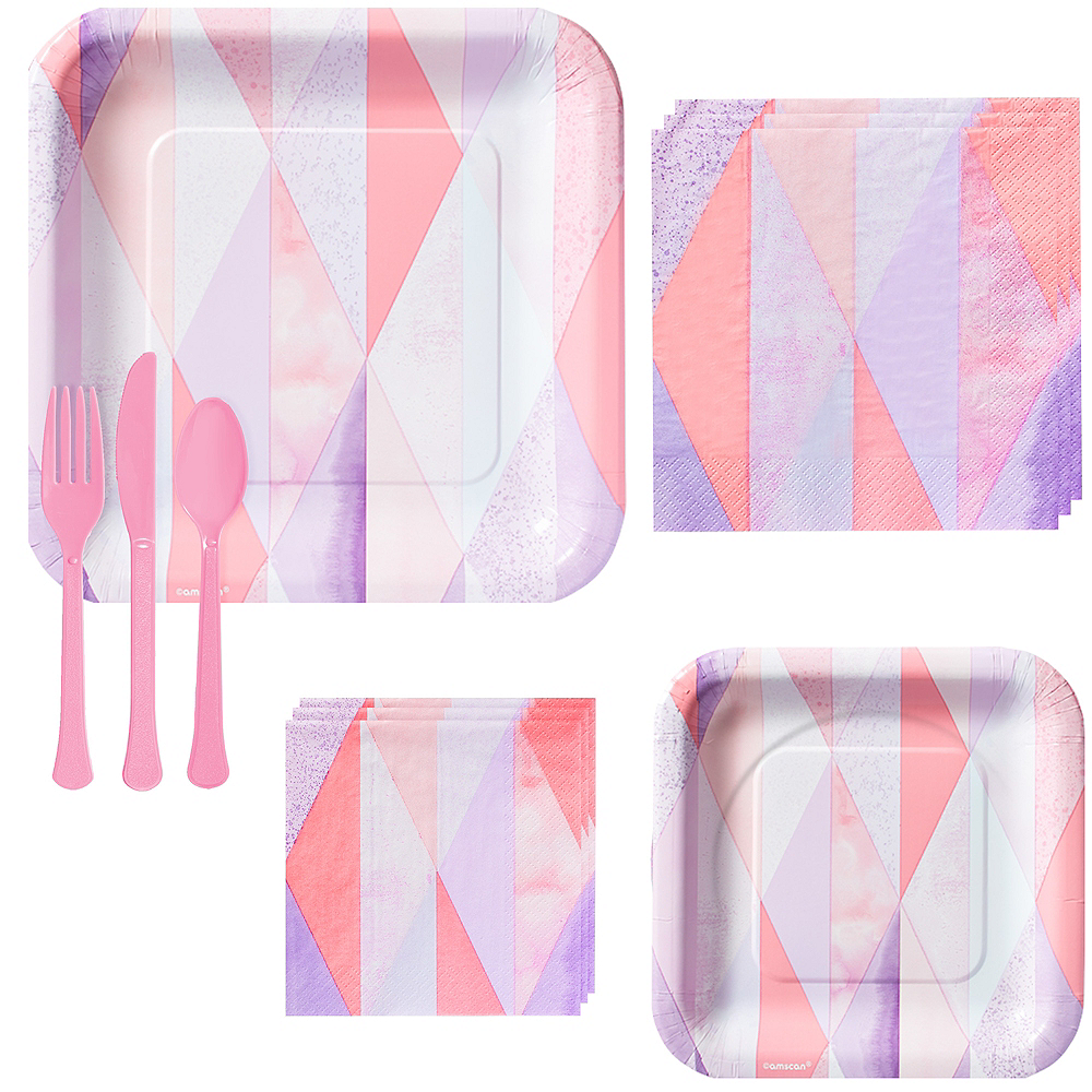 Pink Geometric Tableware Kit for 16 Guests Image #1