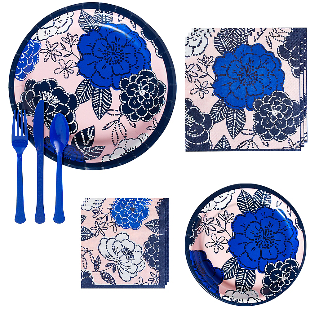 Royal Blue Floral Tableware Kit for 16 Guests Image #1