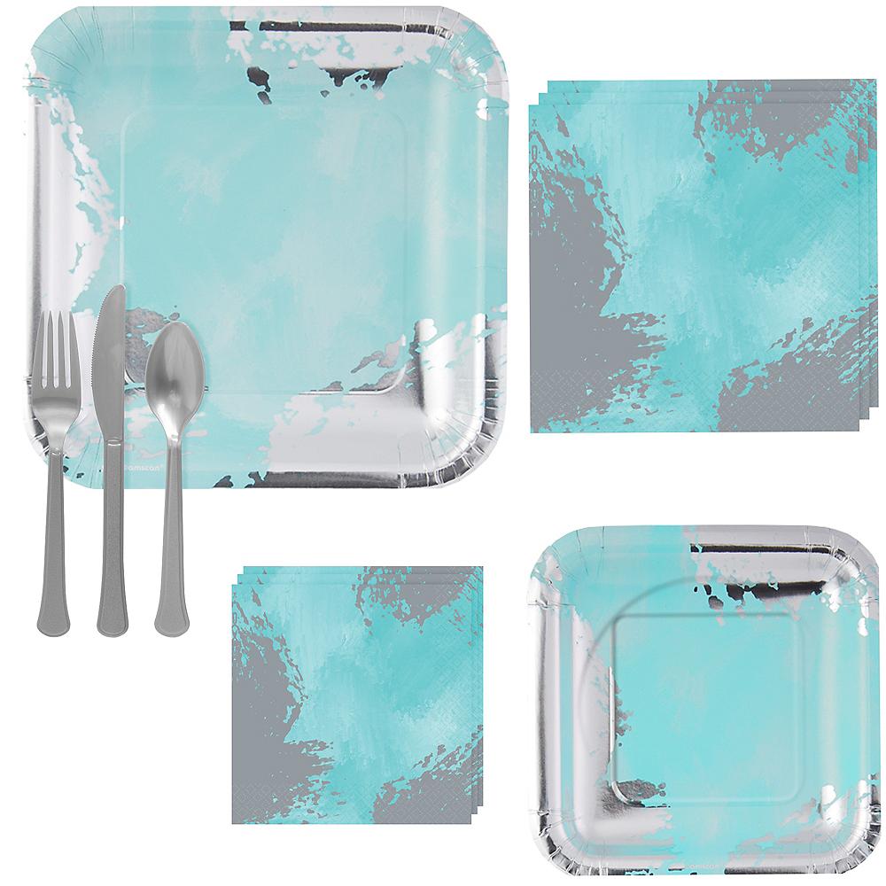 Robin's Egg Blue Brushstroke Tableware Kit for 16 Guests Image #1
