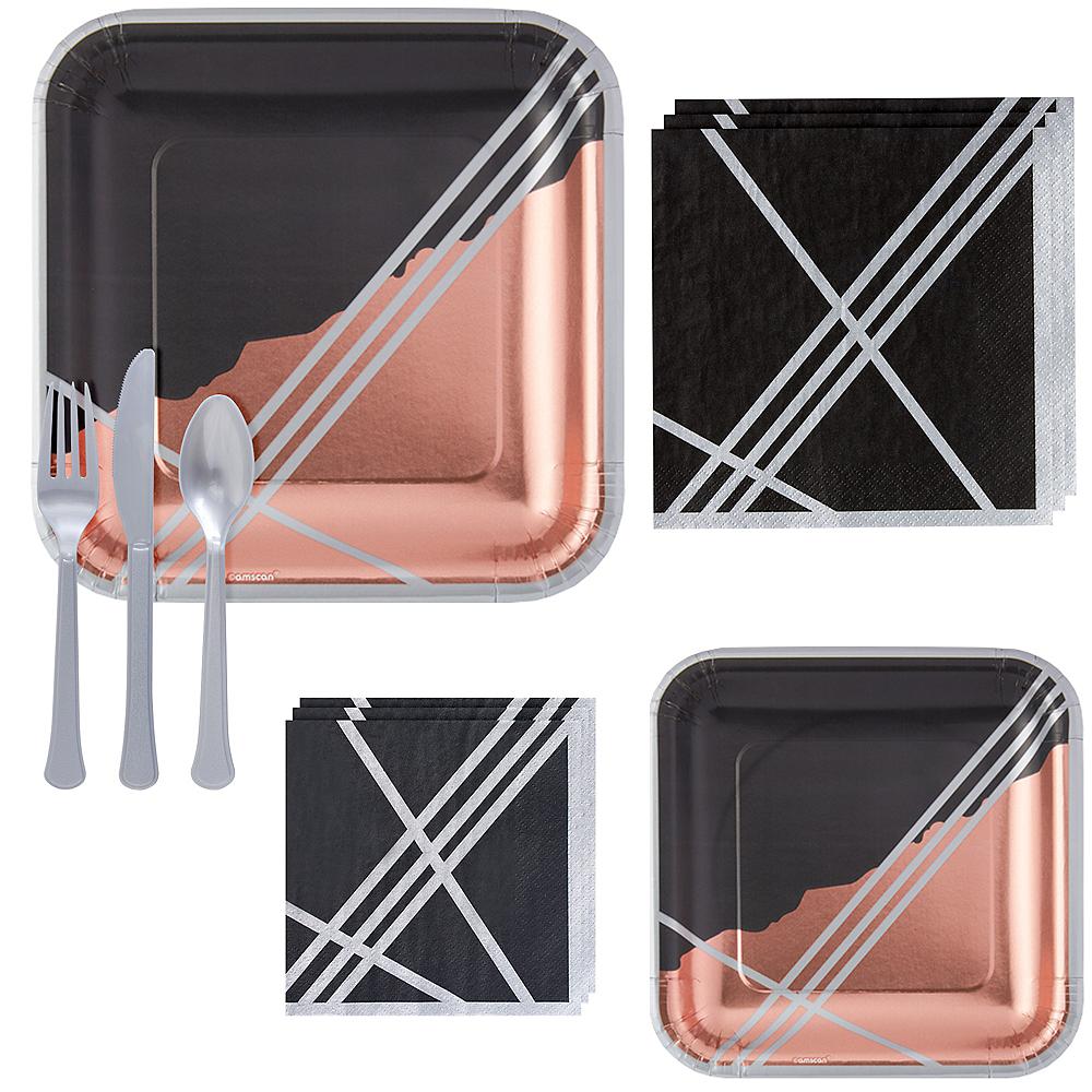Black Facet Tableware Kit for 16 Guests Image #1