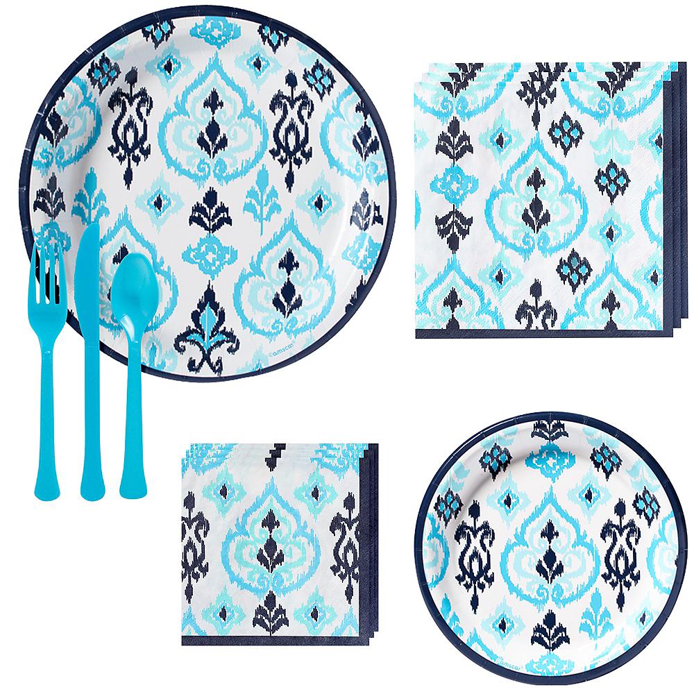 Caribbean Blue Ikat Tableware Kit for 16 Guests Image #1