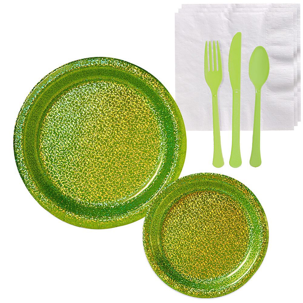 Prismatic Kiwi Green Tableware Kit for 16 Guests Image #1