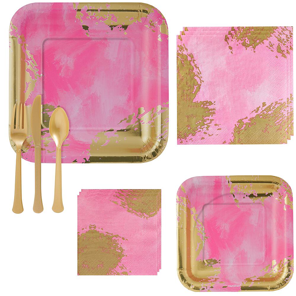 Pink Brushstroke Tableware Kit for 16 Guests Image #1