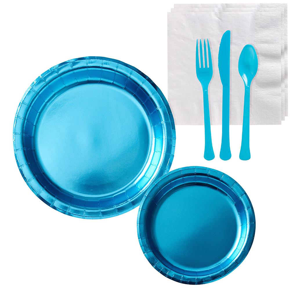 Metallic Caribbean Blue Tableware Kit for 16 Guests Image #1