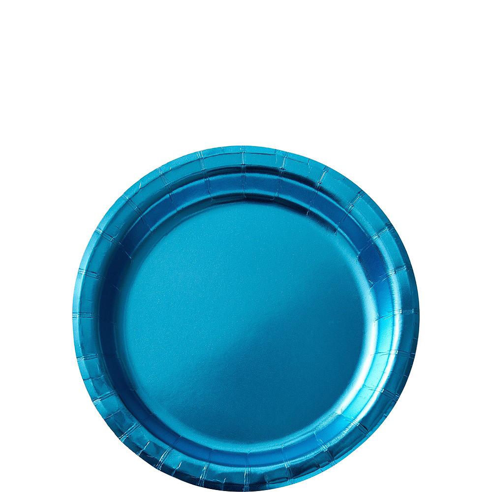Metallic Caribbean Blue Tableware Kit for 16 Guests Image #2