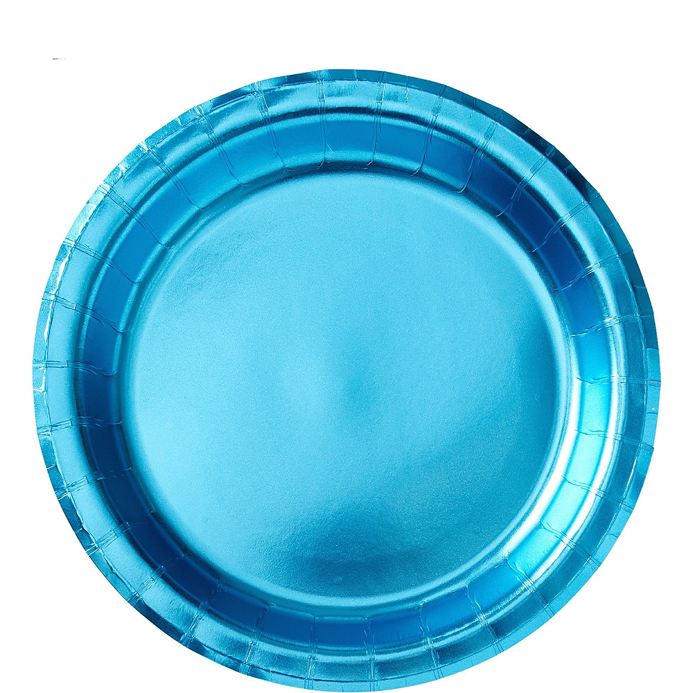Metallic Caribbean Blue Tableware Kit for 16 Guests Image #3