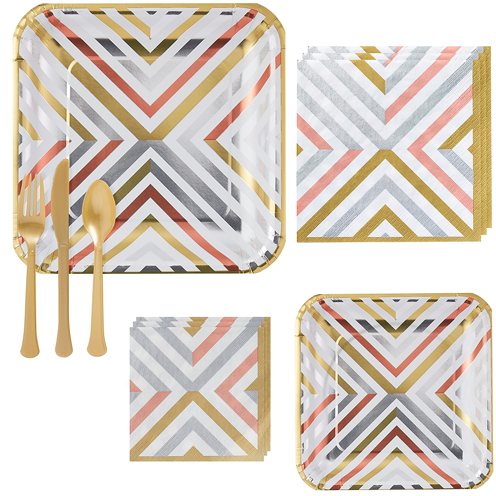 Mixed Metallic Geometric Tableware Kit for 16 Guests Image #1