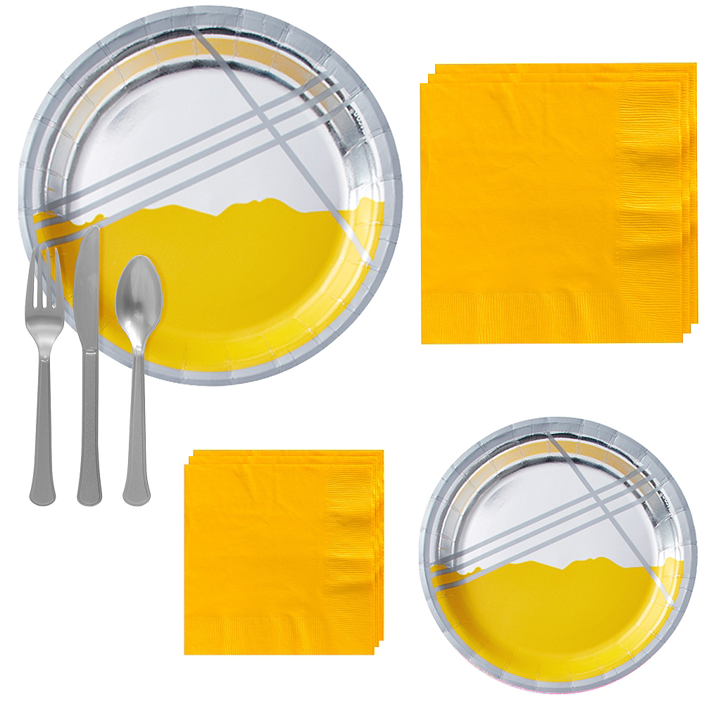 Yellow Facet Tableware Kit for 16 Guests Image #1